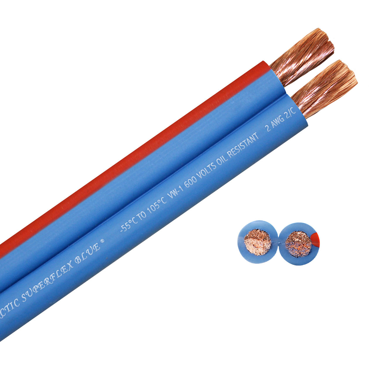 Arctic Superflex Blue 2 gauge twin wire - 100% copper fine strand conductors