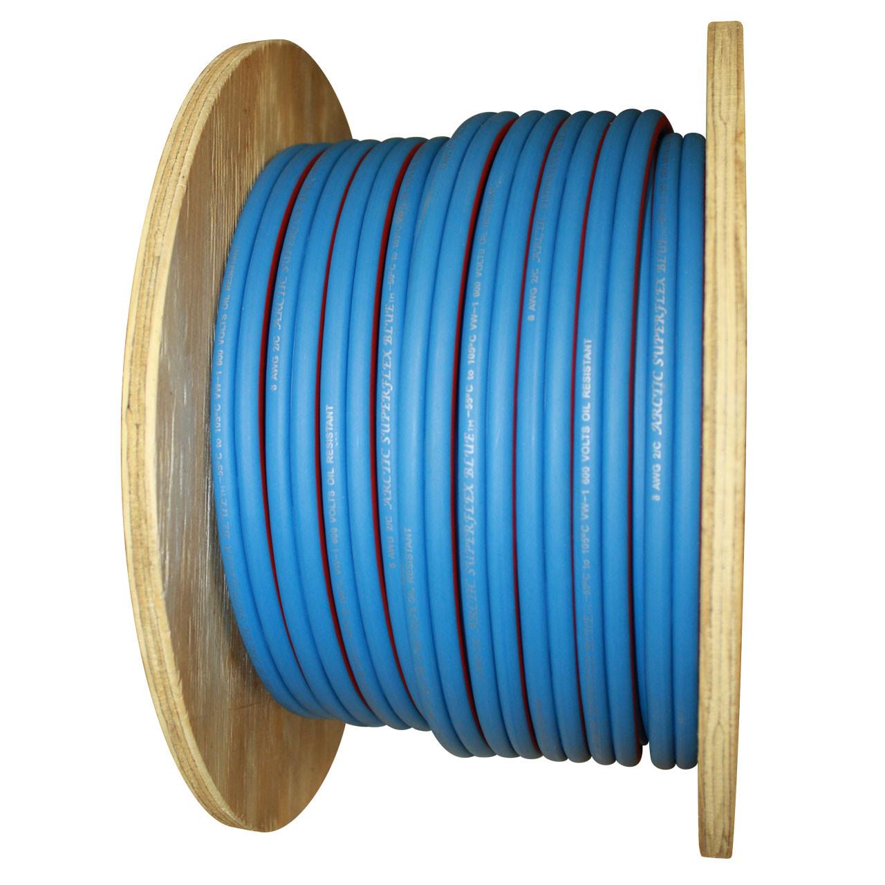 Arctic Superflex Blue 2 gauge 100% copper duplex wire - 100 foot spool