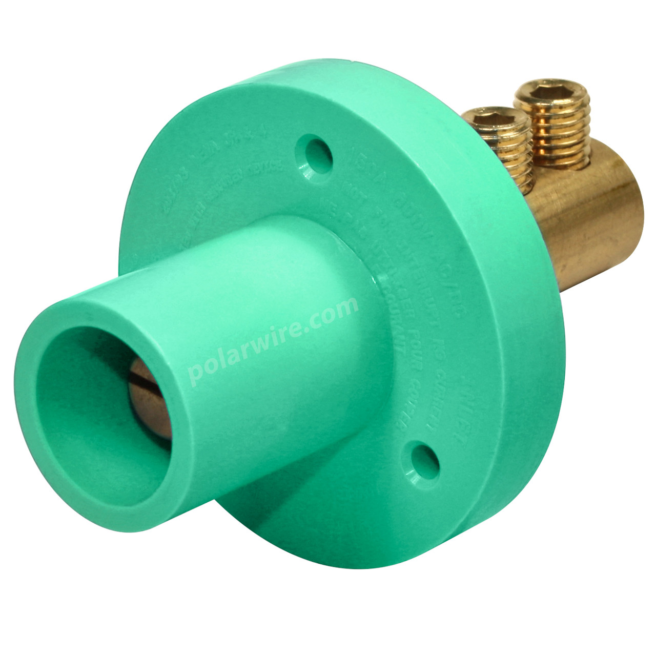 Marinco 150 Amp Male CLM 15 Series Mini Panel Mount Single Pin Cam Lock Connector 8-2 AWG Green Double Set Screw Style