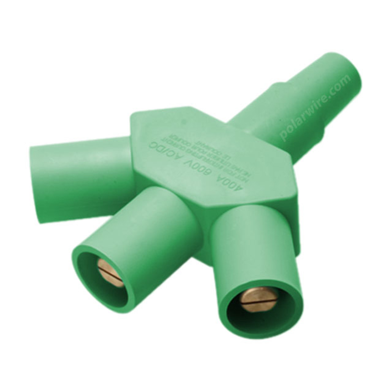 Marinco 400A cam lock reverse 3fer adapter female-male-male-male, green hard 3-line tap connector