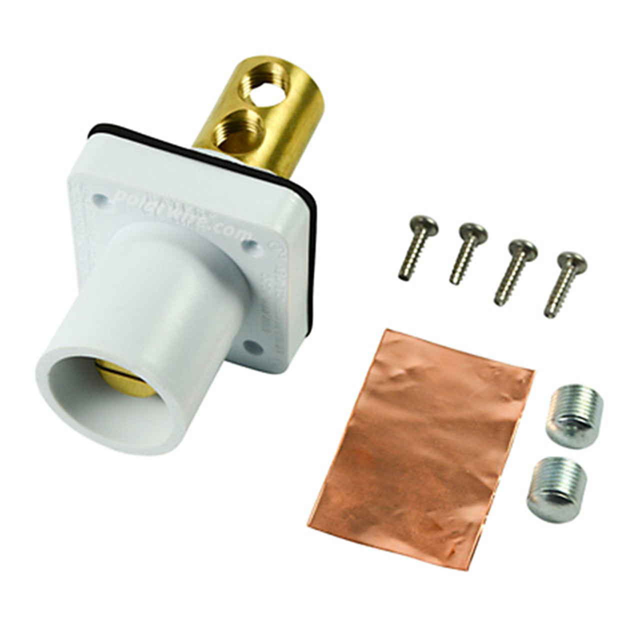 Marinco white 400A CL 16 Series male single pin panel mount cam lock connector with set screw for 2/0-4/0 AWG cable