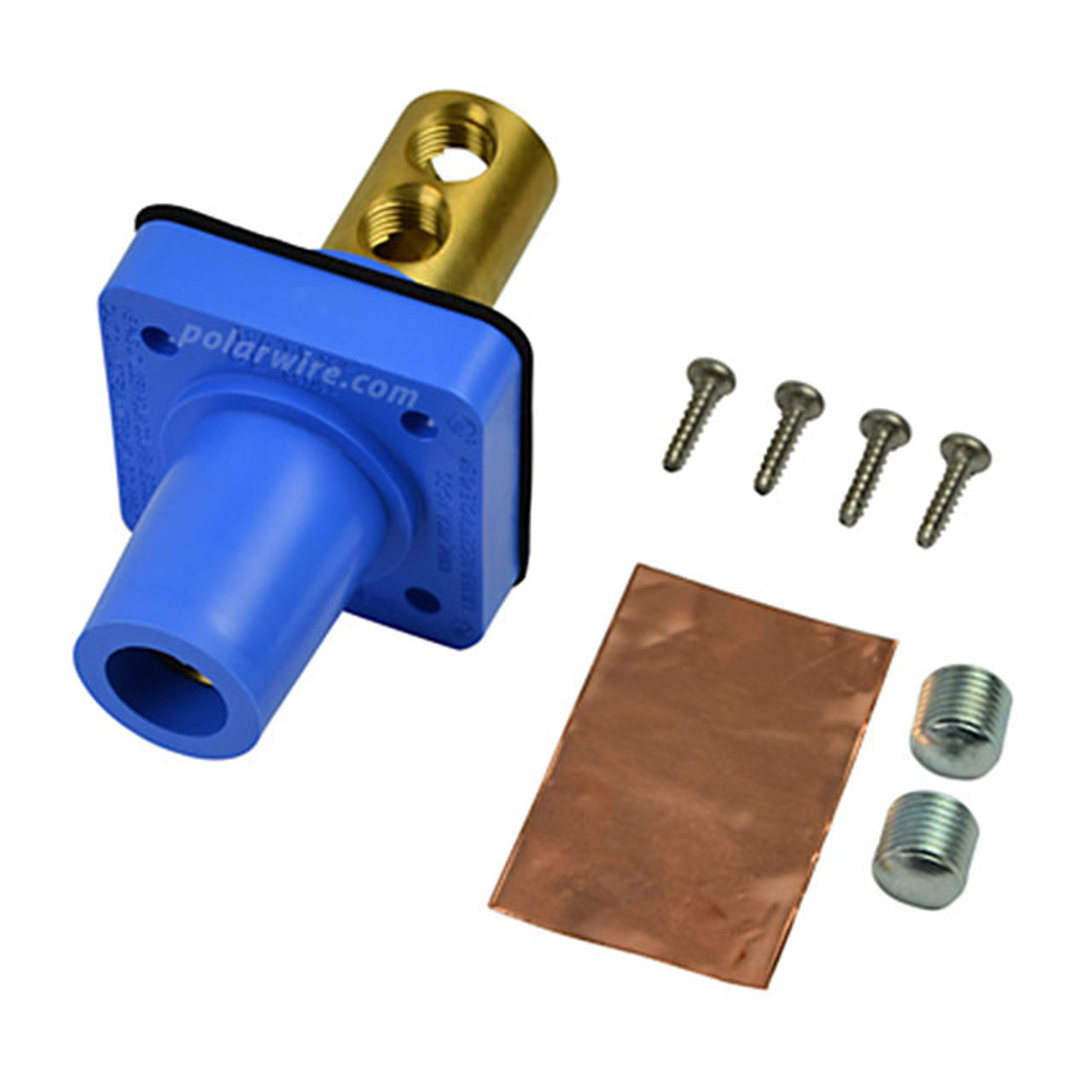 Marinco blue 400A CL 16 Series female single pin panel mount cam lock connector with set screw for 2-2/0 AWG cable