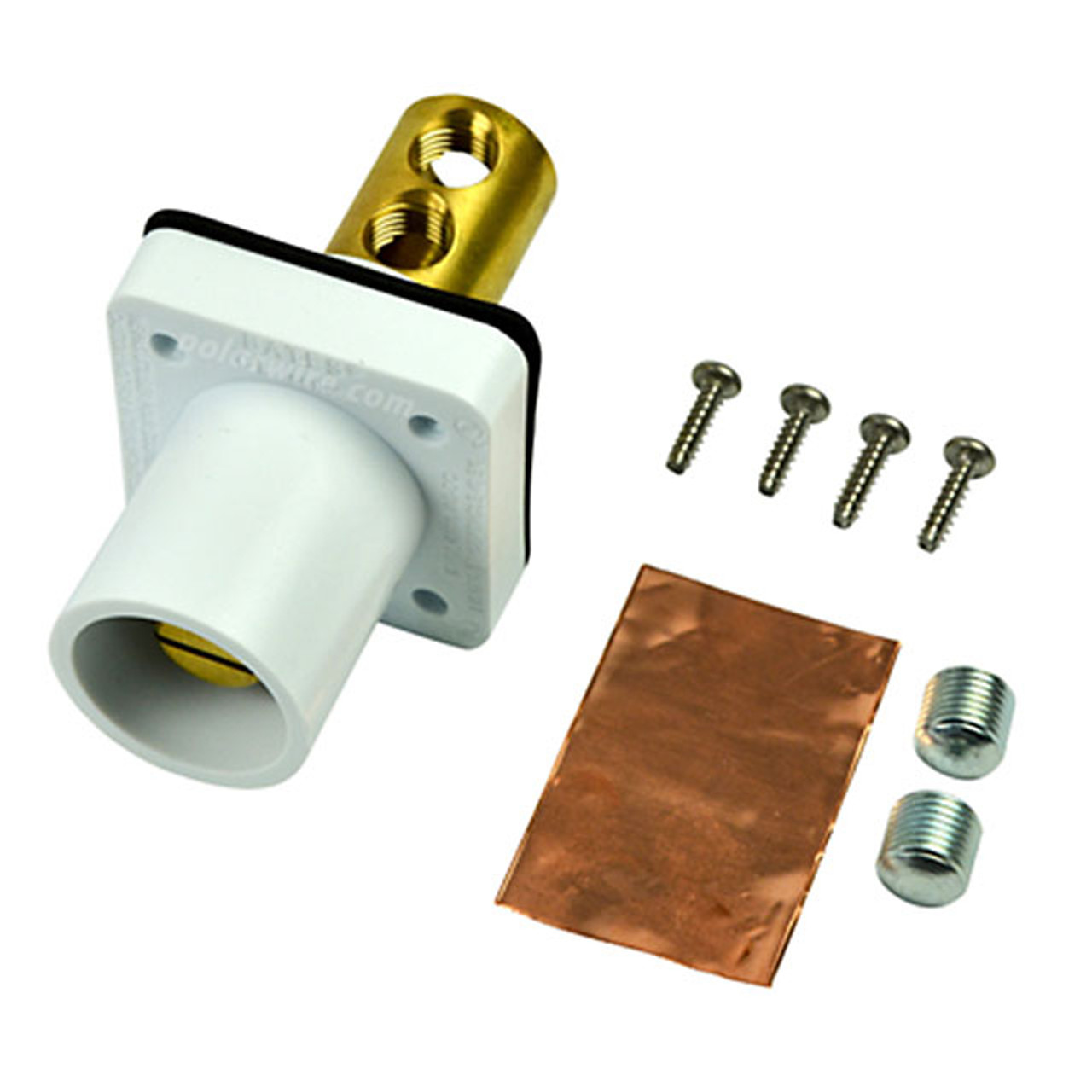 Marinco white 400A CL 16 Series male single pin panel mount cam lock connector with set screw for 2-2/0 AWG cable