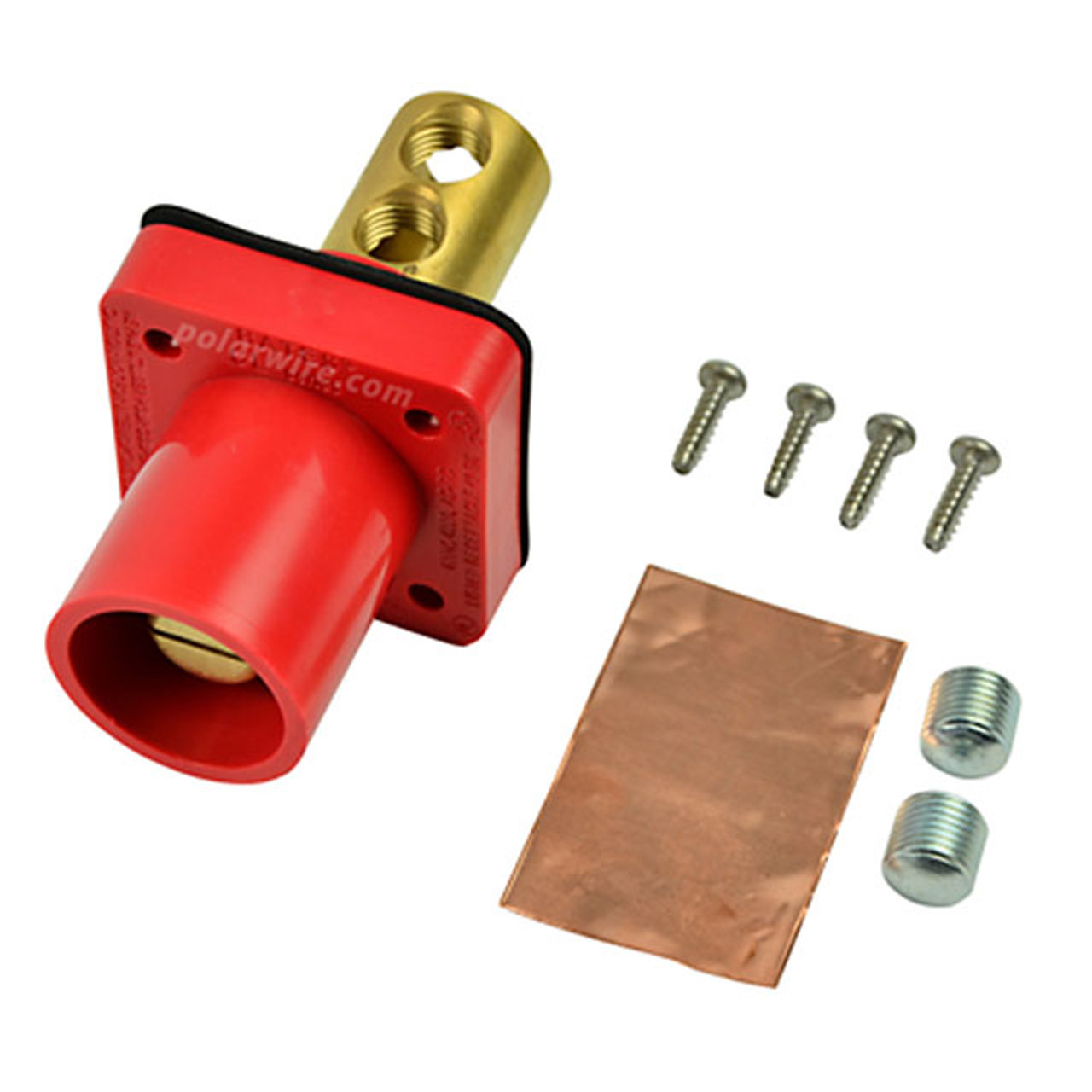 Marinco red 400A CL 16 Series male single pin panel mount cam lock connector with set screw for 2-2/0 AWG cable