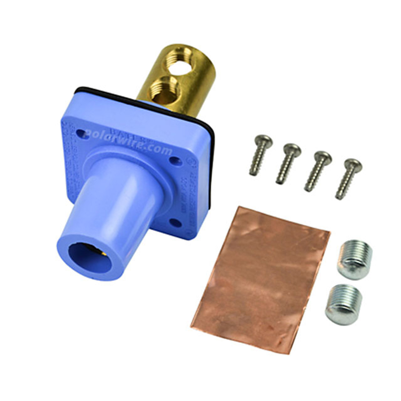 Marinco blue 400A CL 16 Series female single pin panel mount cam lock connector with set screw for 2/0-4/0 AWG cable