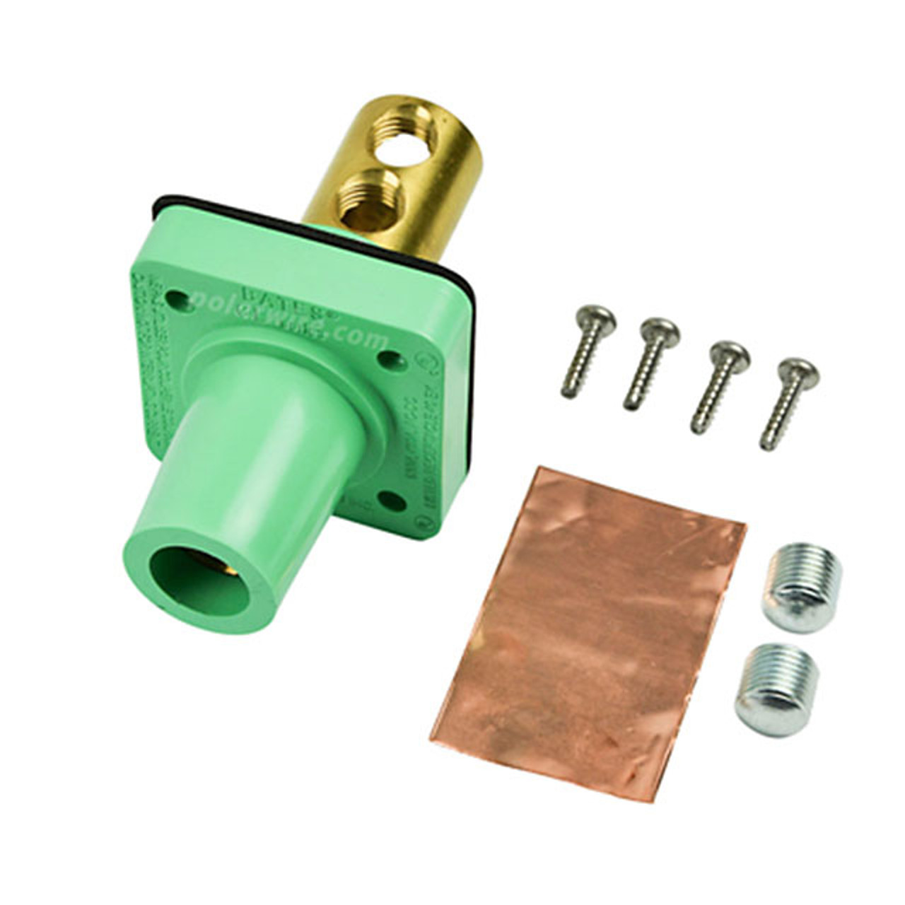 Marinco green 400A CL 16 Series female single pin panel mount cam lock connector with set screw for 2/0-4/0 AWG cable