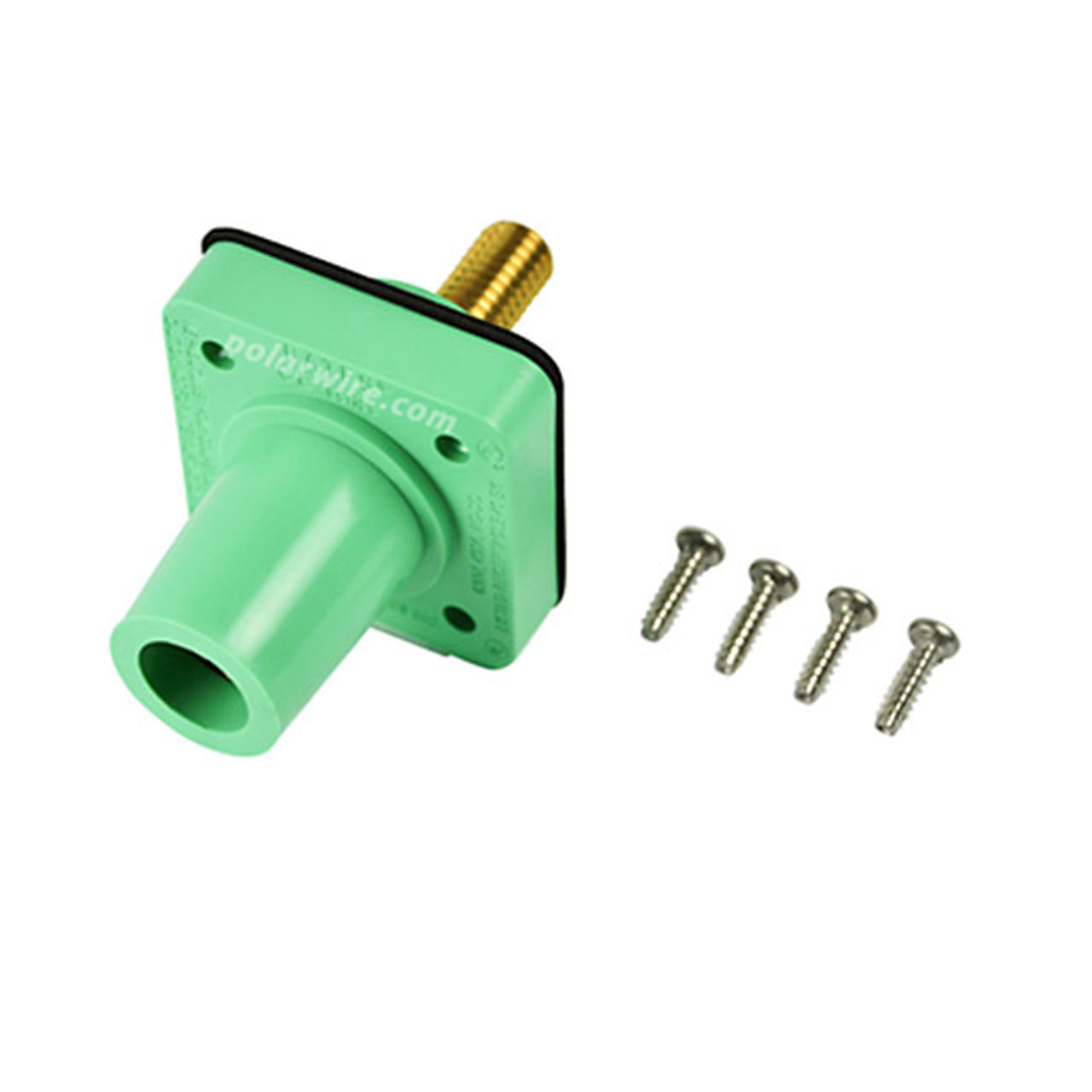 Marinco green 400A CL 16 Series female single pin panel mount cam lock connector with threaded stud for 2/0-4/0 AWG cable