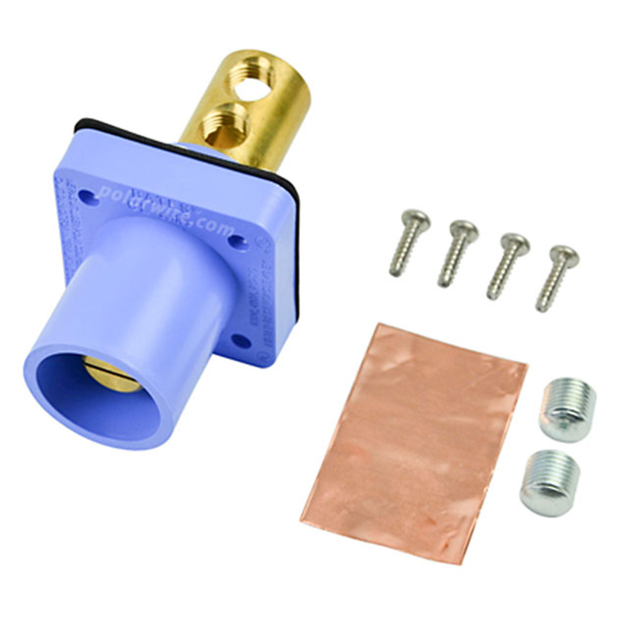 Marinco blue 400A CL 16 Series male single pin panel mount cam lock connector with set screw for 2/0-4/0 AWG cable