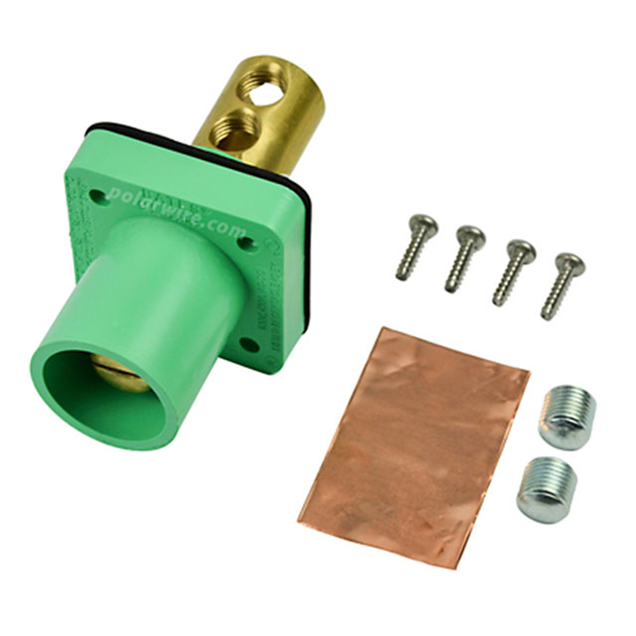 Marinco green 400A CL 16 Series male single pin panel mount cam lock connector with set screw for 2/0-4/0 AWG cable