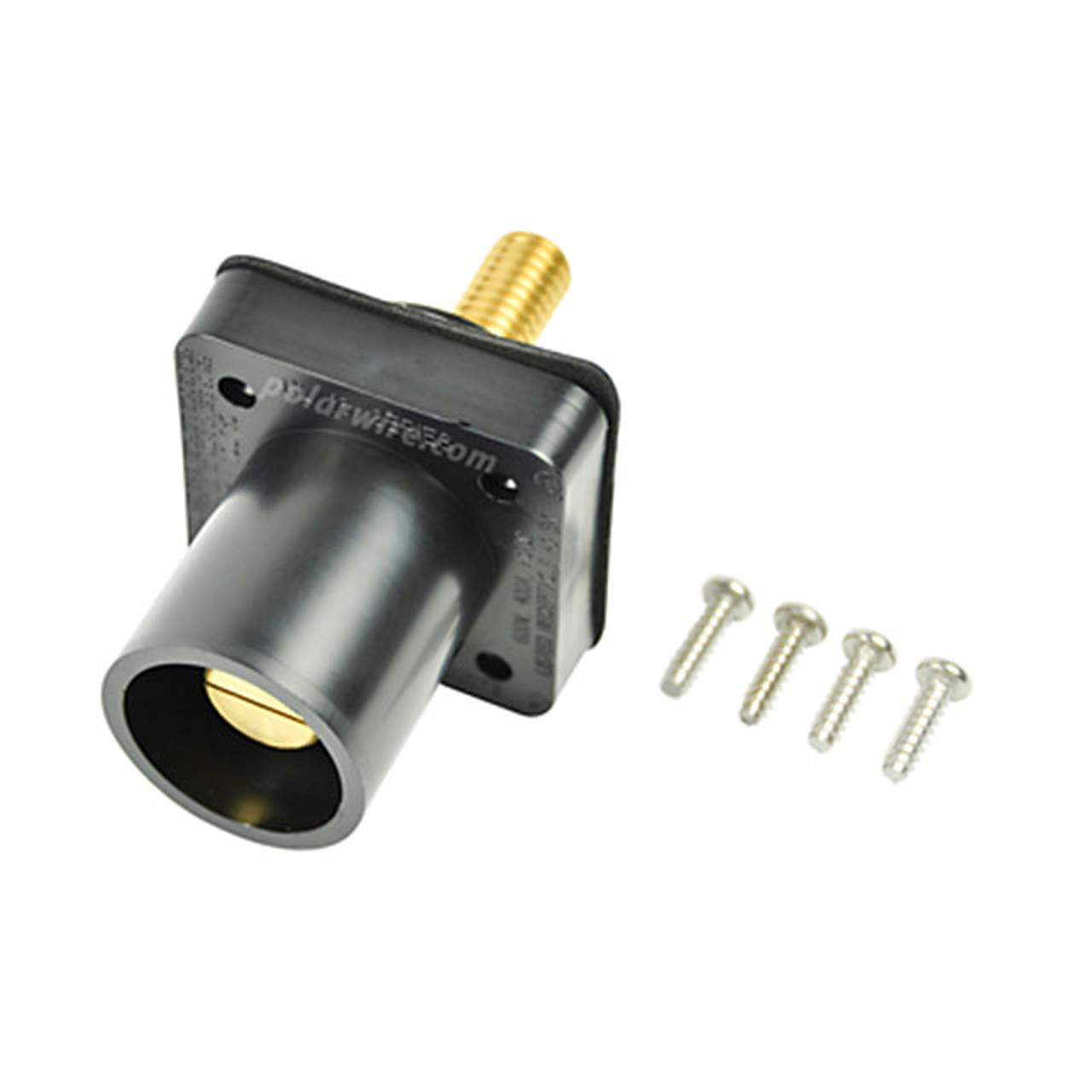 Marinco black 400A CL 16 Series male single pin panel mount cam lock connector with threaded stud for 2/0-4/0 AWG cable