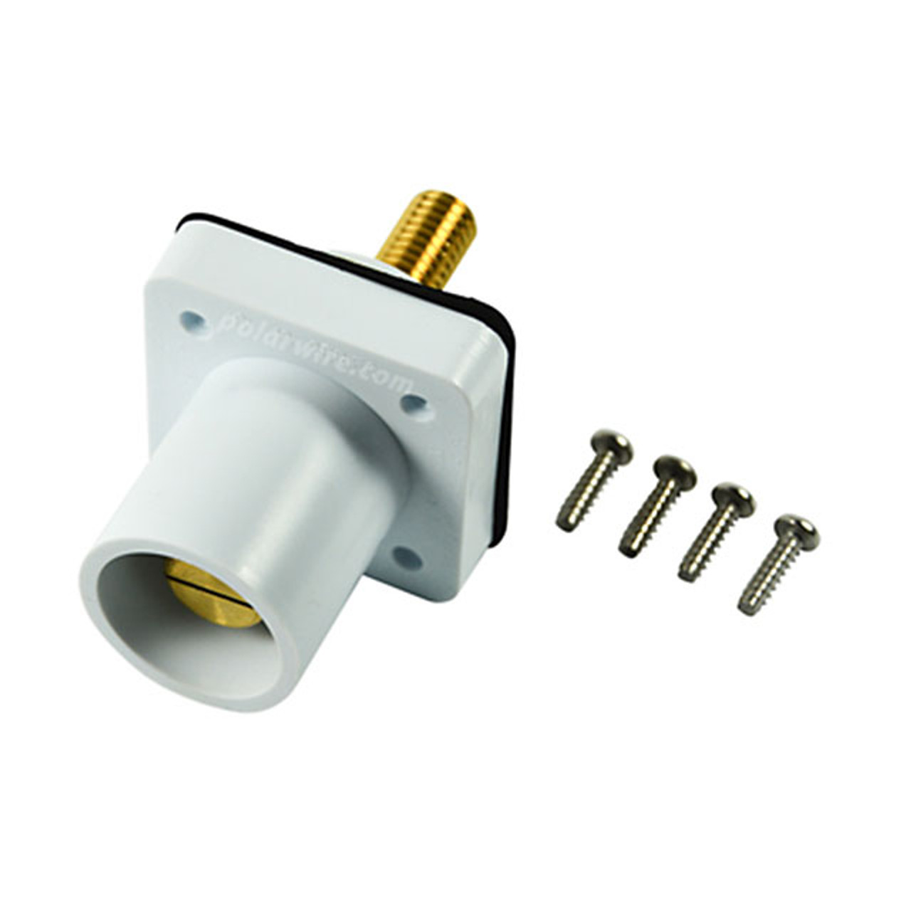 Marinco white 400A CL 16 Series male single pin panel mount cam lock connector with threaded stud for 2/0-4/0 AWG cable