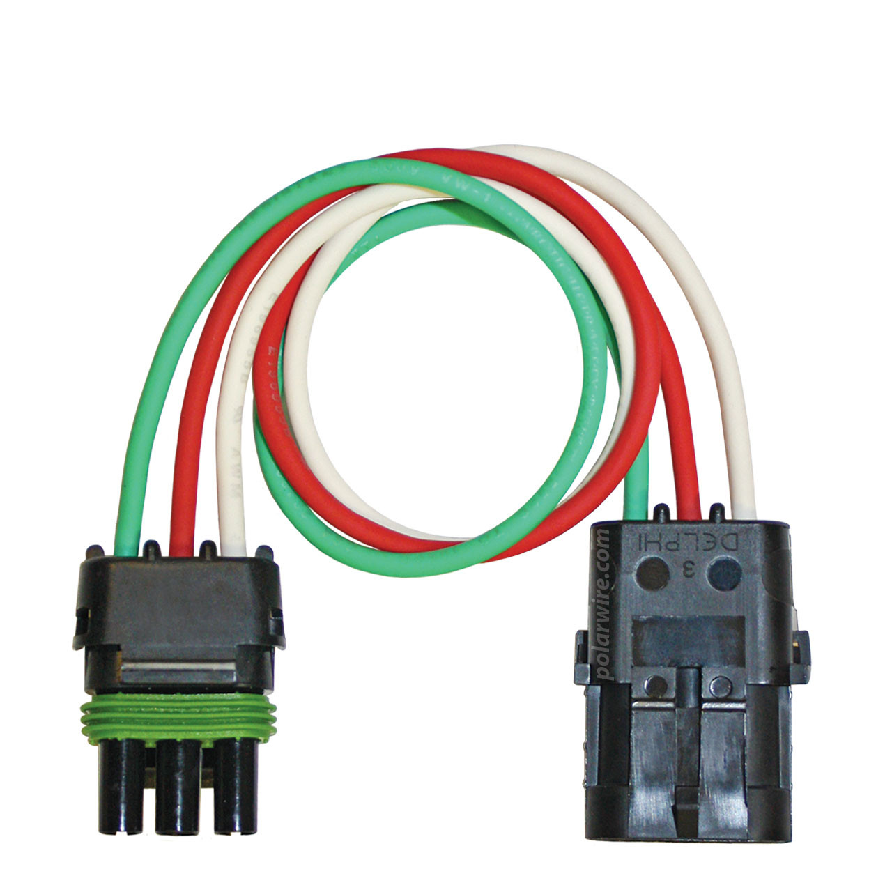 12 inch 3 pole Weather Pack Pigtail wired with 12 AWG Arctic Ultraflex Blue wire in red, white and green