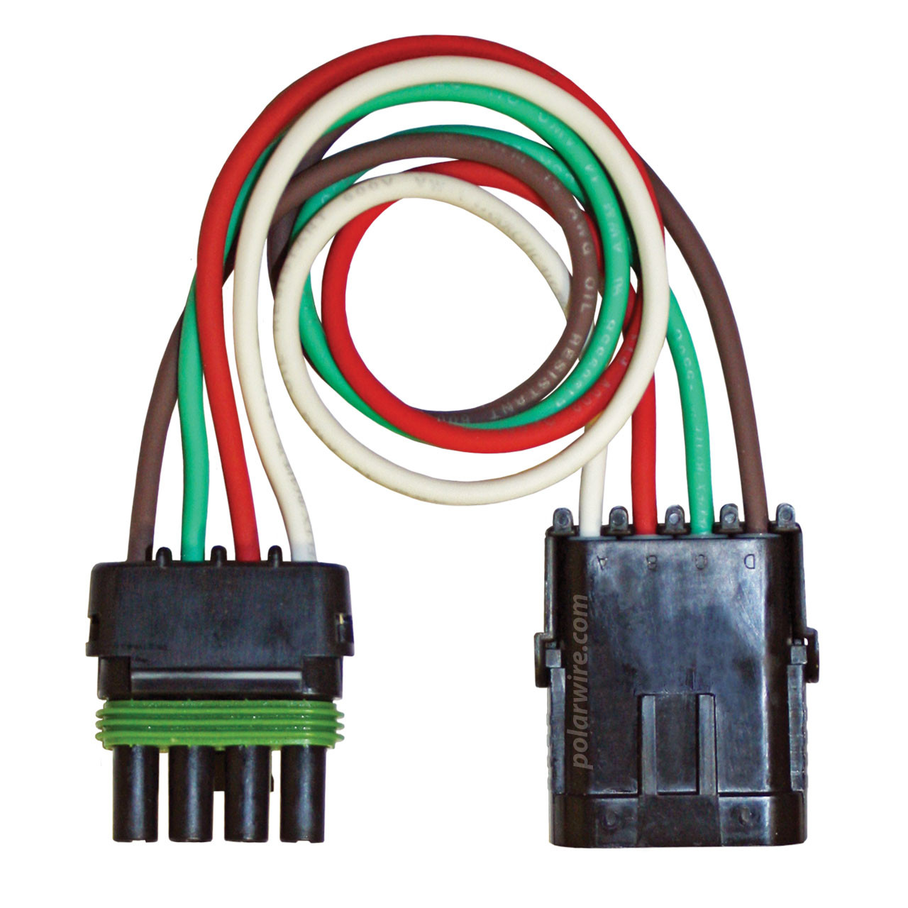 12 inch 4 pole Weather Pack Pigtail wired with 14 AWG Arctic Ultraflex Blue wire in red, white, green and brown