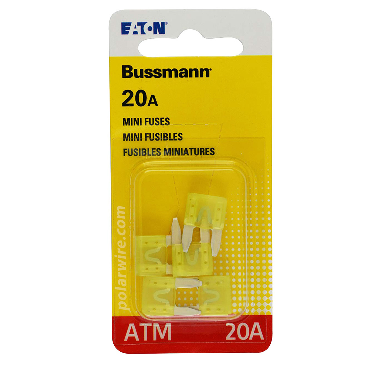 ATM mini blade 20 amp fuse yellow, Bussmann package of 5