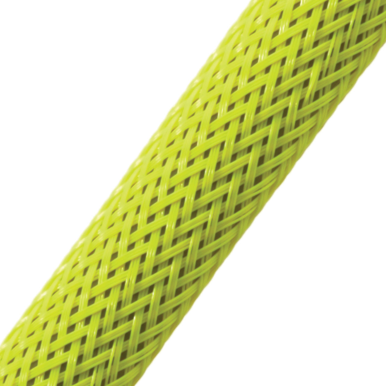 "BRAIDED SLEEVE 1/2"" 24' NEON YELLOW EXPANDS 1/4""-3/4"""