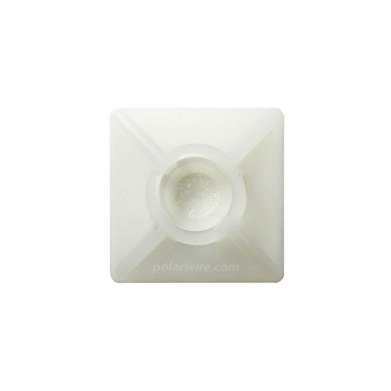 adhesive zip tie mount with screw hole, natural 6.6 nylon, 3/4 inch