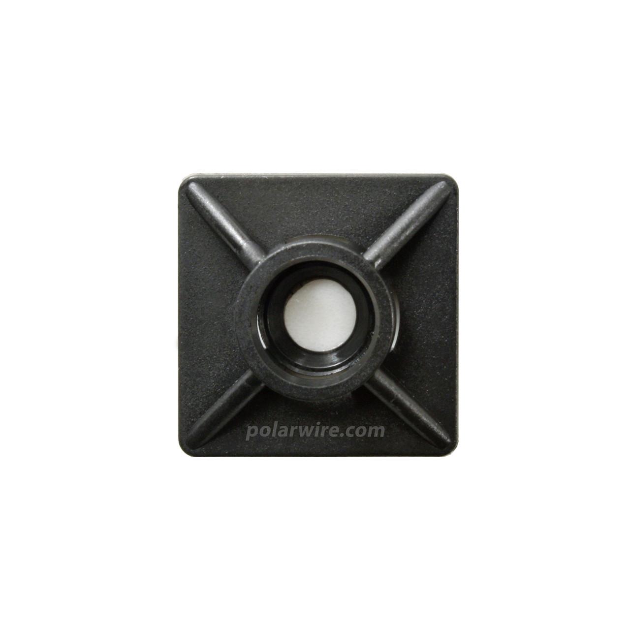 adhesive zip tie mount with screw hole, black UV 6.6 nylon