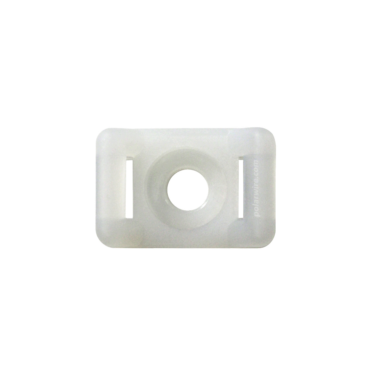 5/8 inch white nylon 6.6 zip tie base saddle mount, screw applied, 18-120 pound pull strength
