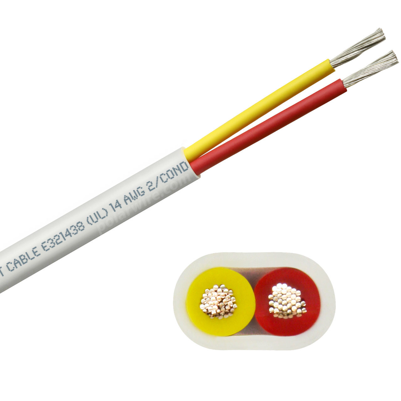 14 AWG flat yellow and red safety dc duplex marine grade tinned copper bc5w2 boat cable features ultra flexible Class K fine copper stranding for flexibility and conductivity, exceeds ABYC standards, UL Listed, CSA Certified