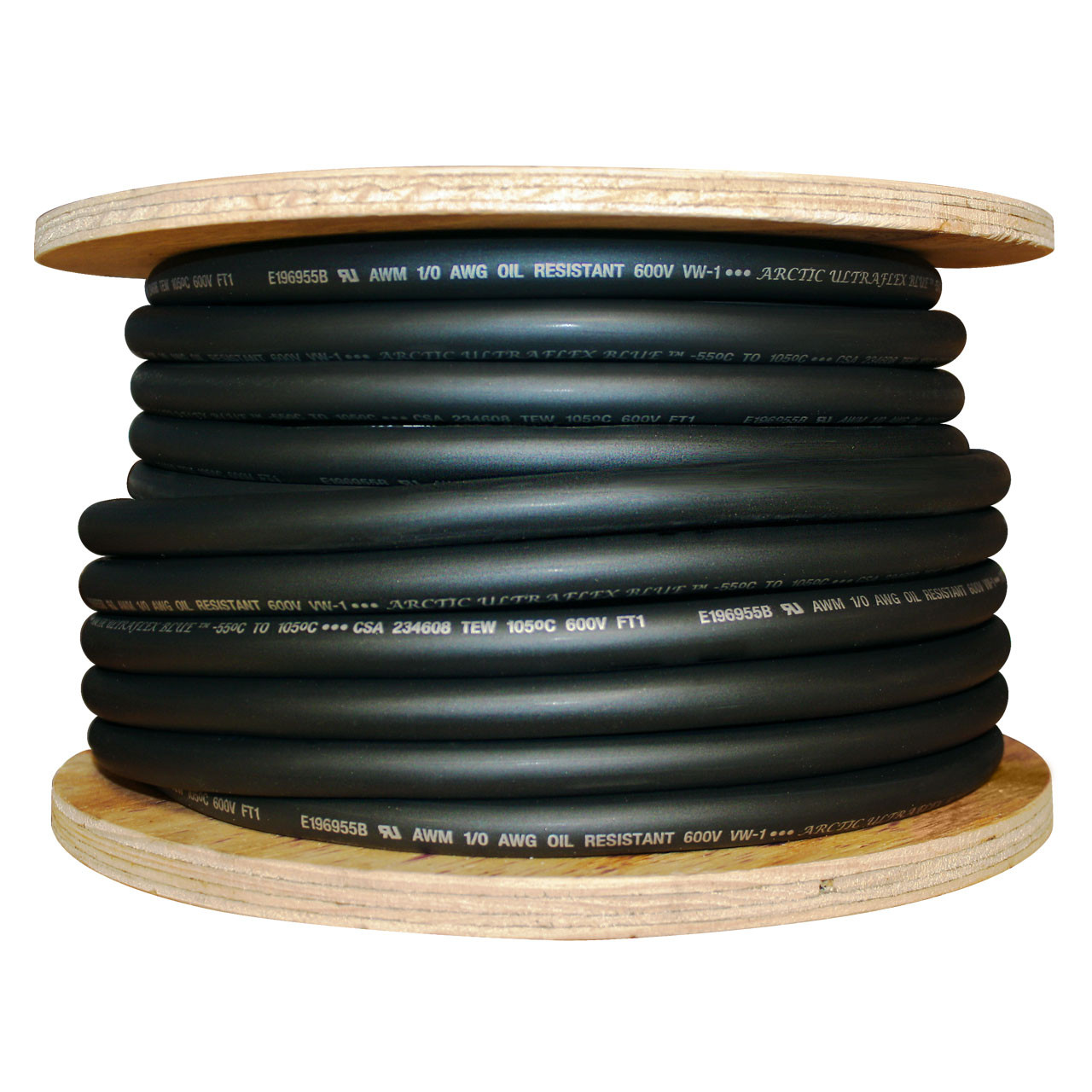 1/0 AWG Black Arctic Ultraflex Blue® 100% copper Class K fine stranded cold weather flexible wire - 100 foot spool