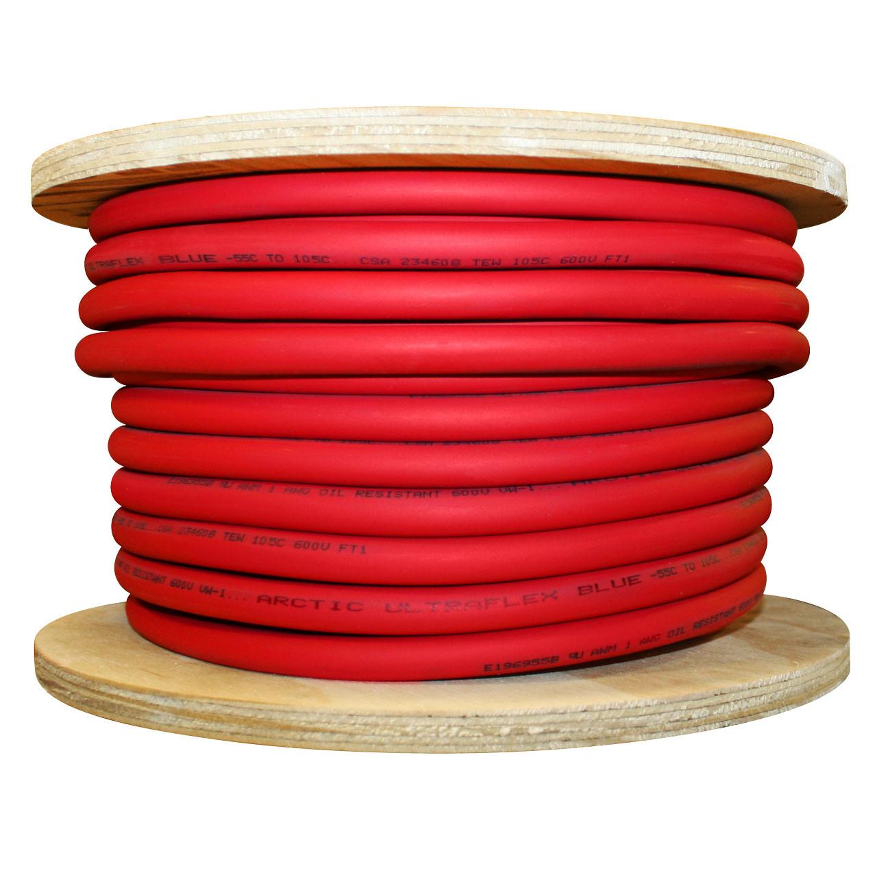 Arctic Ultraflex Blue 1 gauge single conductor 100% copper fine strand wire, 100 foot spool, red jacket