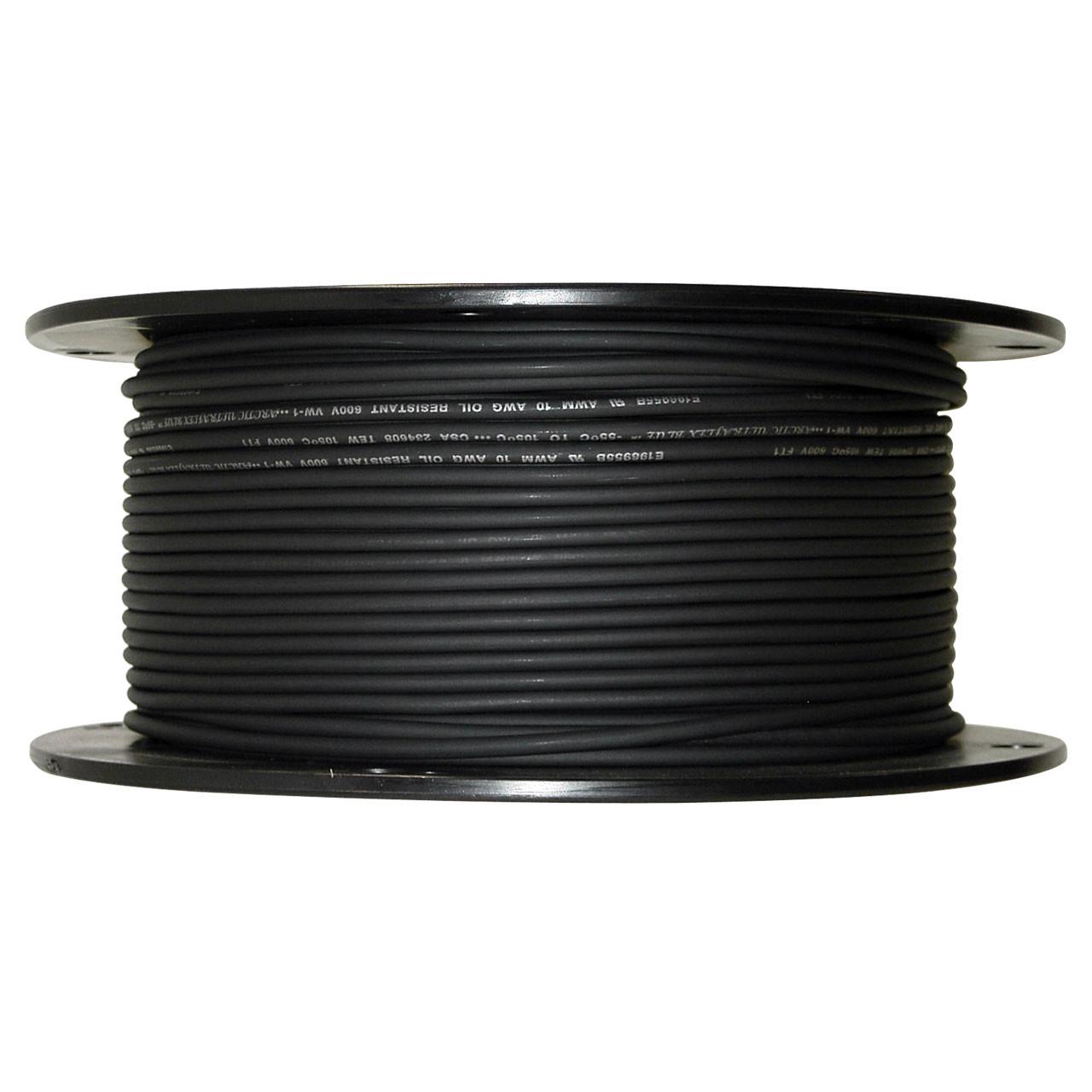 Arctic Ultraflex Blue Single Conductor Wire 100% copper tinned fine strand 10 AWG Black 600v, 500 foot spool