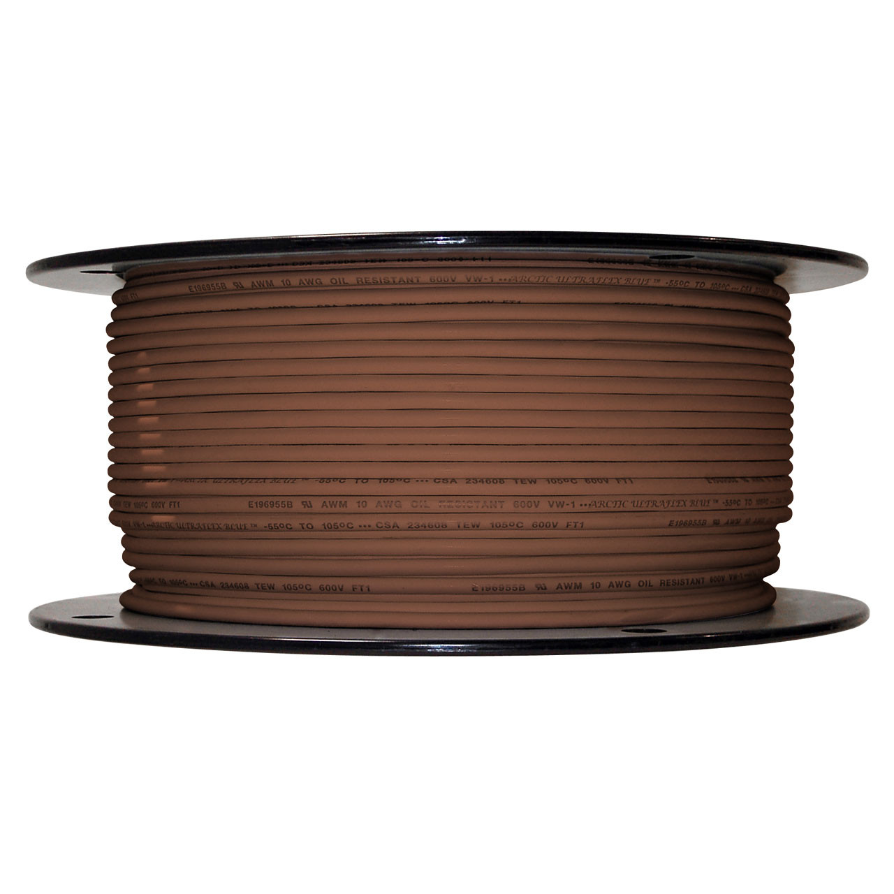 Arctic Ultraflex Blue Single Conductor Wire 100% copper tinned fine strand, 600v applications, 10 AWG Brown, 500 foot spool