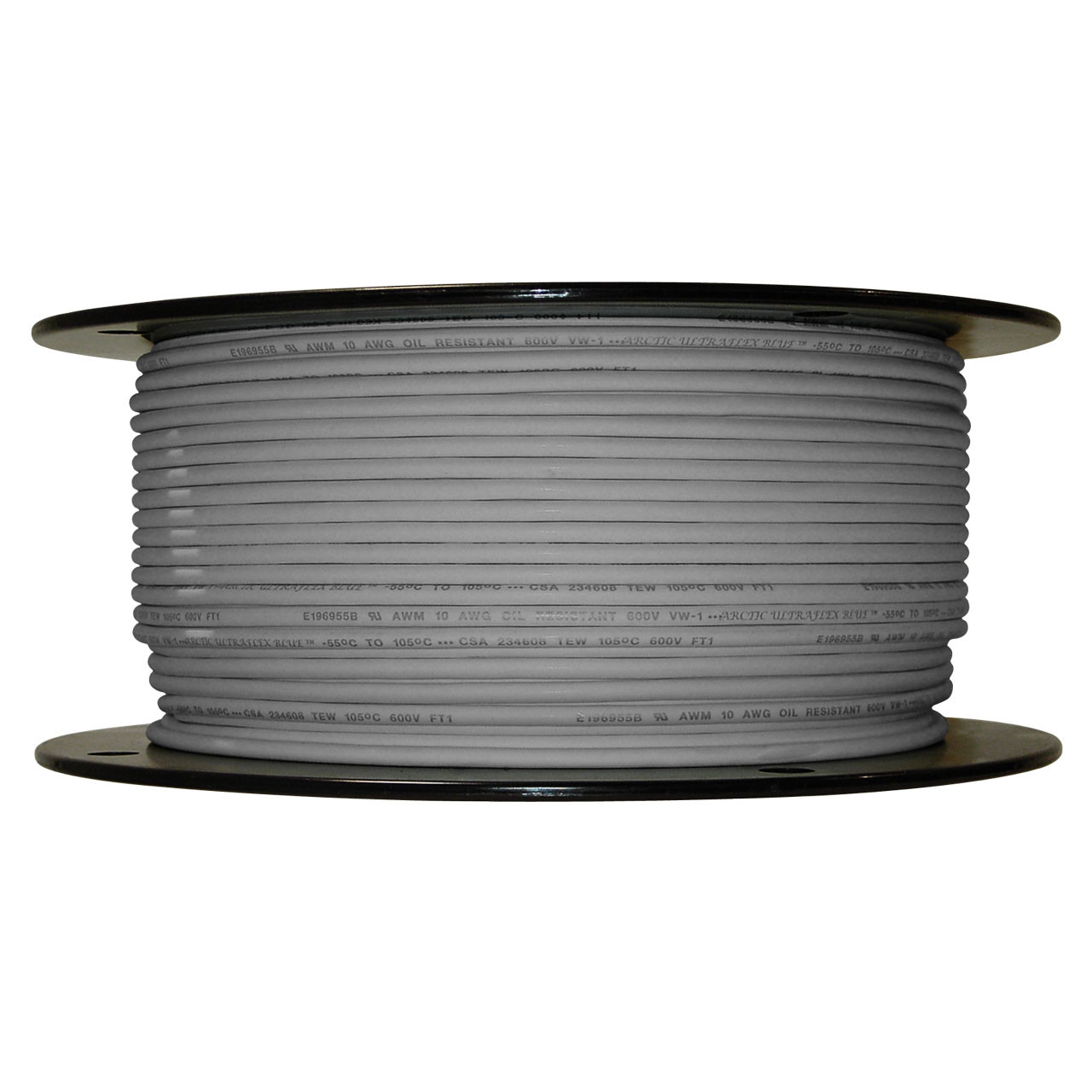 Arctic Ultraflex Blue Single Conductor Wire 100% copper tinned fine strand, 600v applications, 10 AWG Gray, 500 foot spool