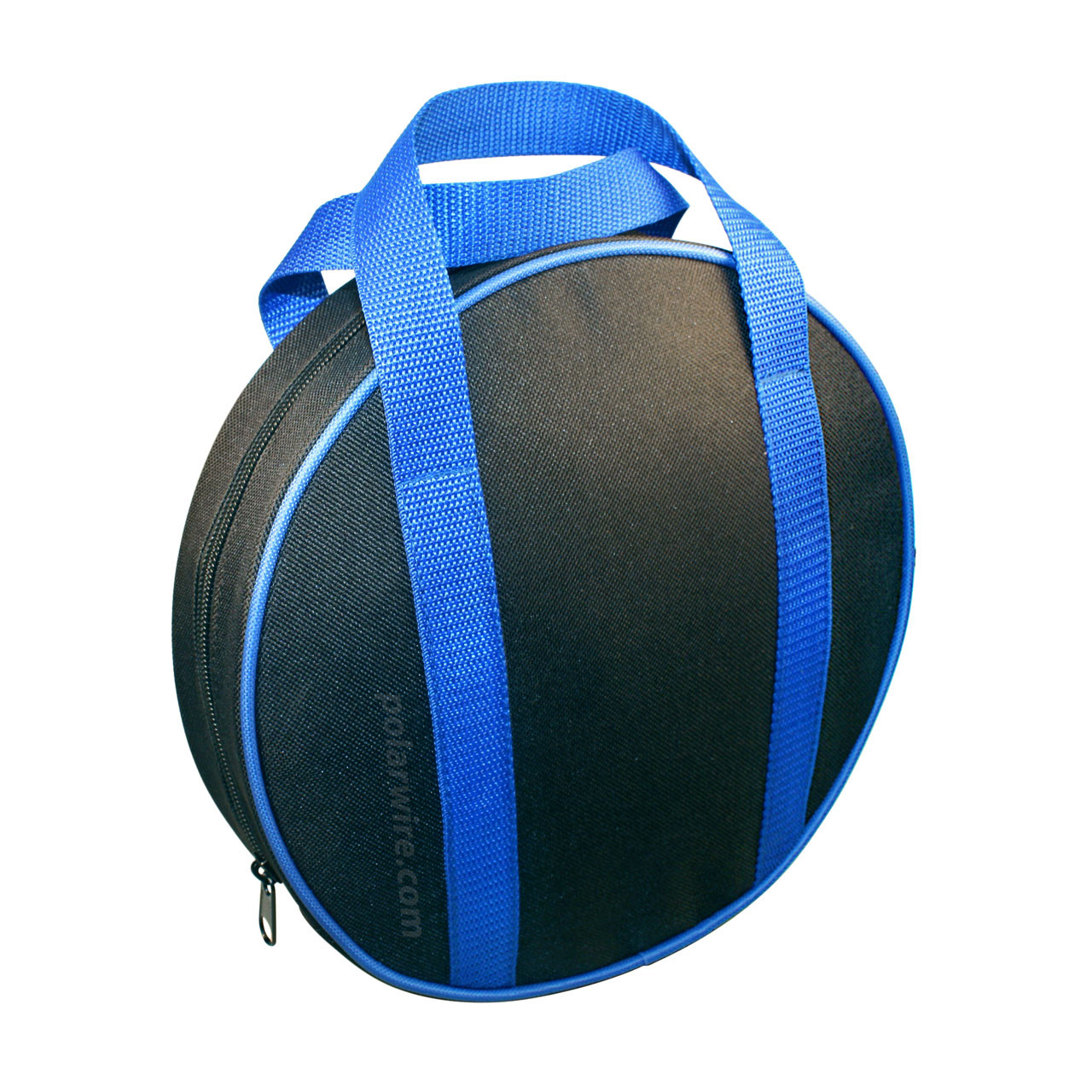 Sturdy nylon canvas jumper cable bag, 10 inches diameter by 2.5 inches high
