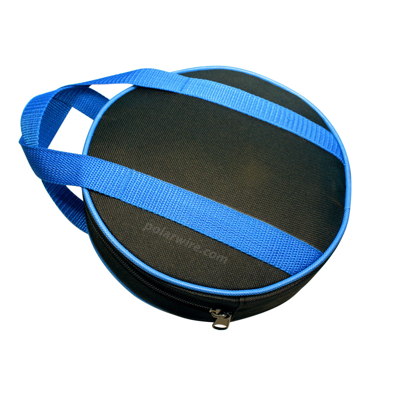 Sturdy nylon canvas jumper cable bag, 8 inches diameter by 2 inches high features nylon webbing handles and a wide zippered opening