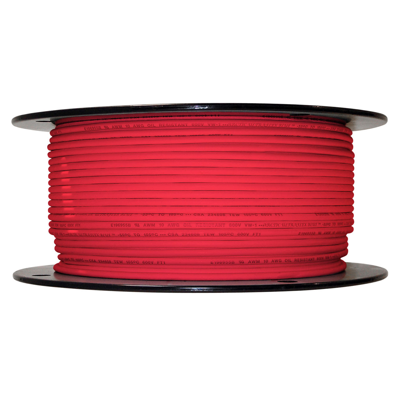 10 AWG Arctic Ultraflex Blue Single Conductor Wire 100% copper tinned fine strand, 600v applications, 500 foot spool Red