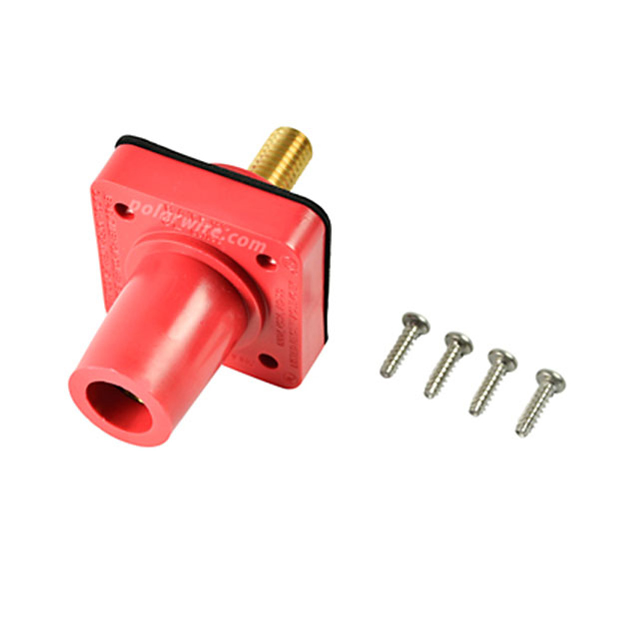 Marinco red 400A CL 16 Series female single pin panel mount cam lock connector with threaded stud for 2/0-4/0 AWG cable