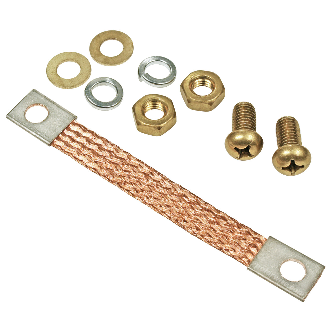 "Braided Copper Bonding Strap and Hardware Kit for converting 1000 AMP replacement jumper clamps to dual live jaw and attaching to 5/16"" stud eyelet lug cables"