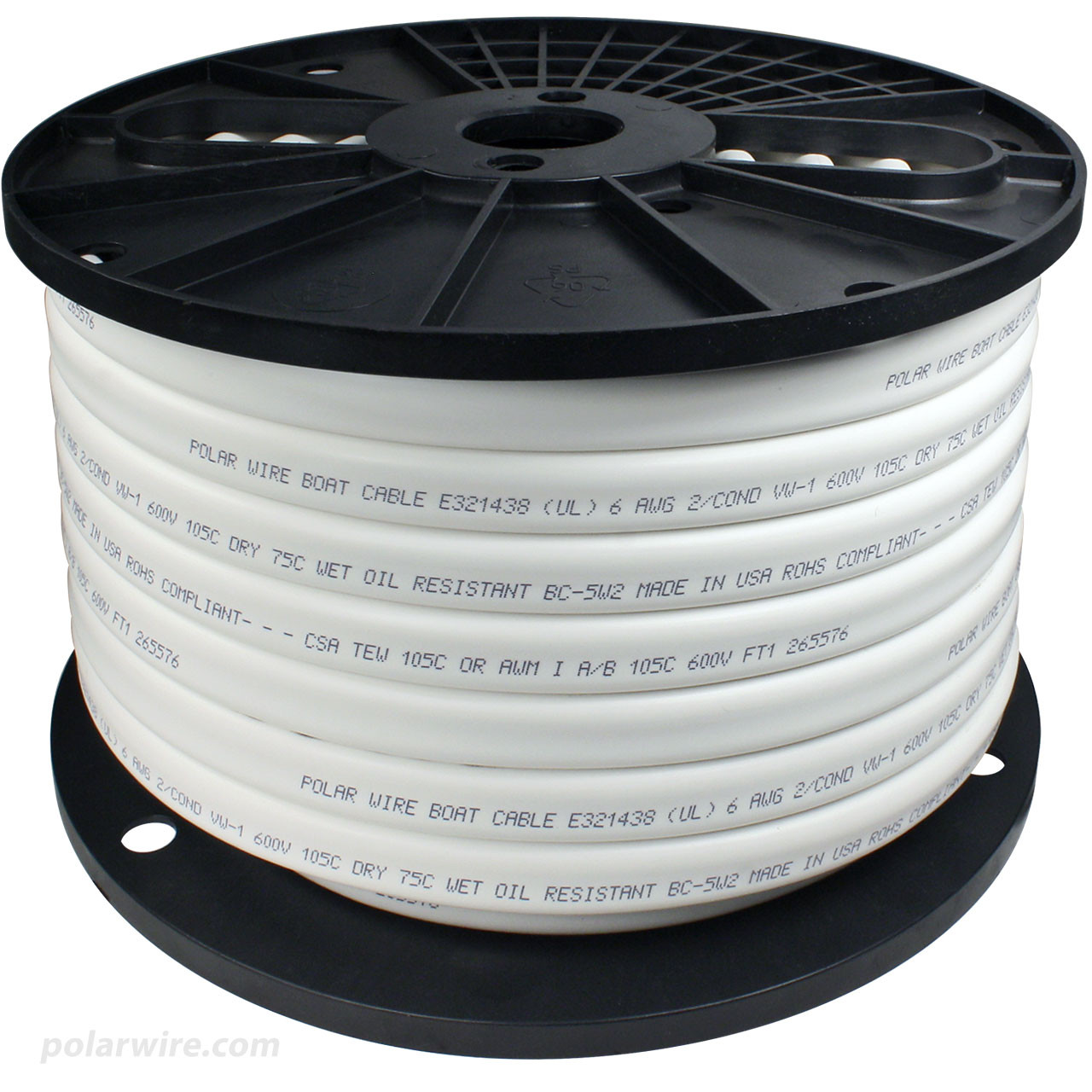 Polar Wire flexible tinned 100% copper  boat cable  in 6 gauge 2 conductor flat profile configuration