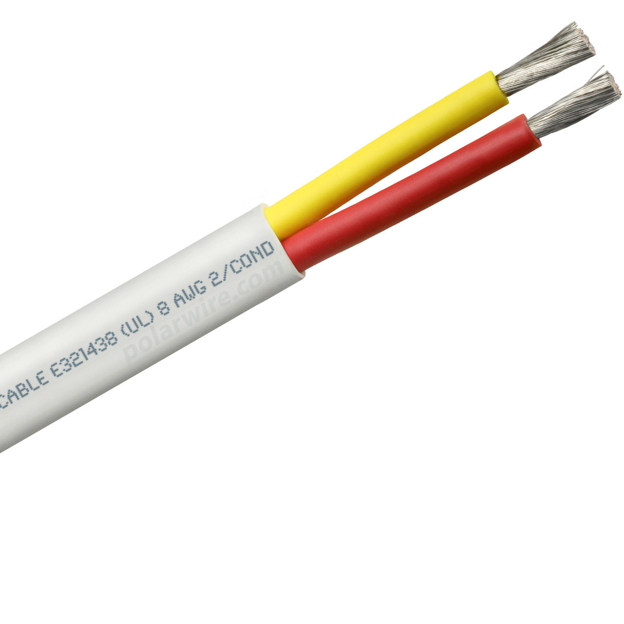 8 AWG flat yellow and red safety dc duplex marine grade tinned copper bc5w2 boat cable features ultra flexible Class K fine copper stranding for flexibility and conductivity, exceeds ABYC standards, UL Listed, CSA Certified