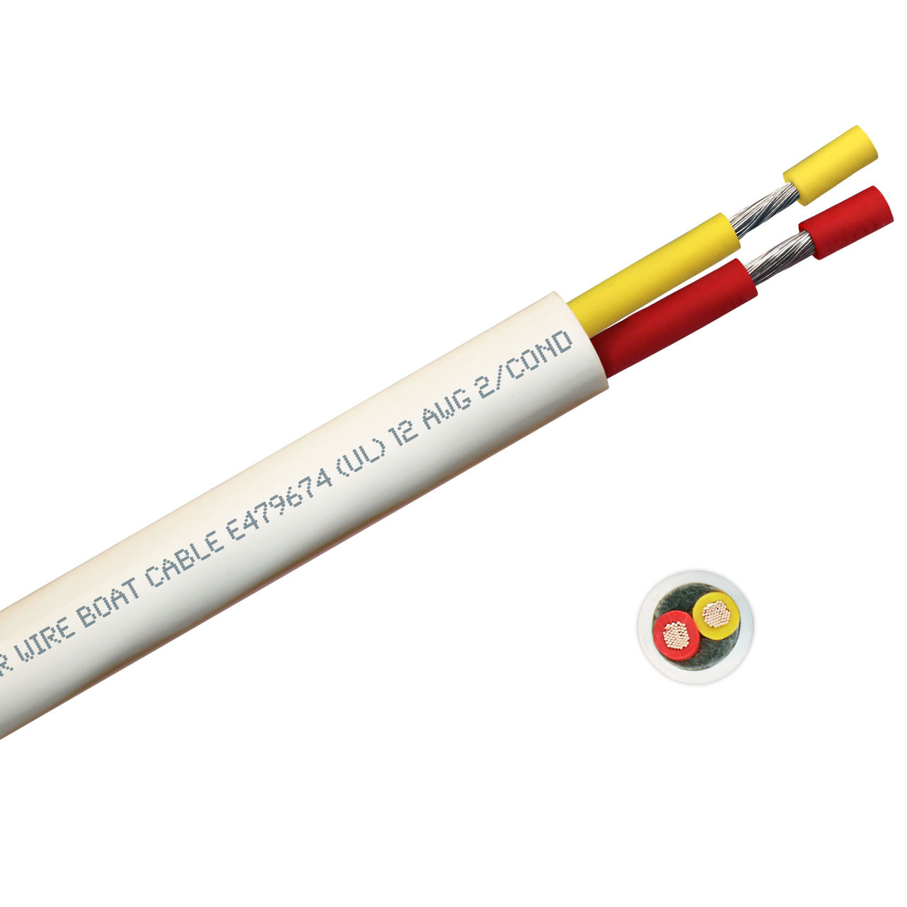12 AWG round yellow and red safety dc duplex marine grade tinned copper bc5w2 boat cable features ultra flexible Class K fine copper stranding for flexibility and conductivity, exceeds ABYC standards, UL Listed, CSA Certified