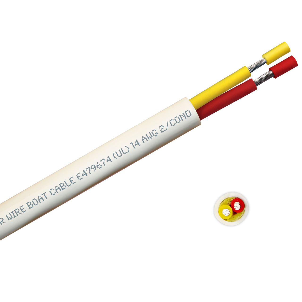 14 AWG round yellow and red safety dc duplex marine grade tinned copper bc5w2 boat cable features ultra flexible Class K fine copper stranding for flexibility and conductivity, exceeds ABYC standards, UL Listed, CSA Certified