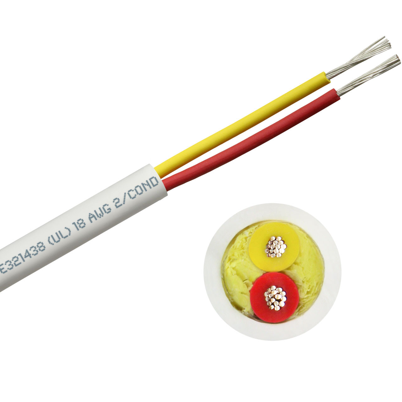 Round DC duplex marine boat cable with 18 AWG safety yellow and red conductors - 100 foot spool