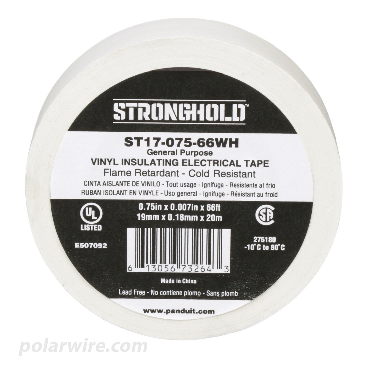 3/4 inch White PVC Vinyl Electrical Tape Panduit Stronghold