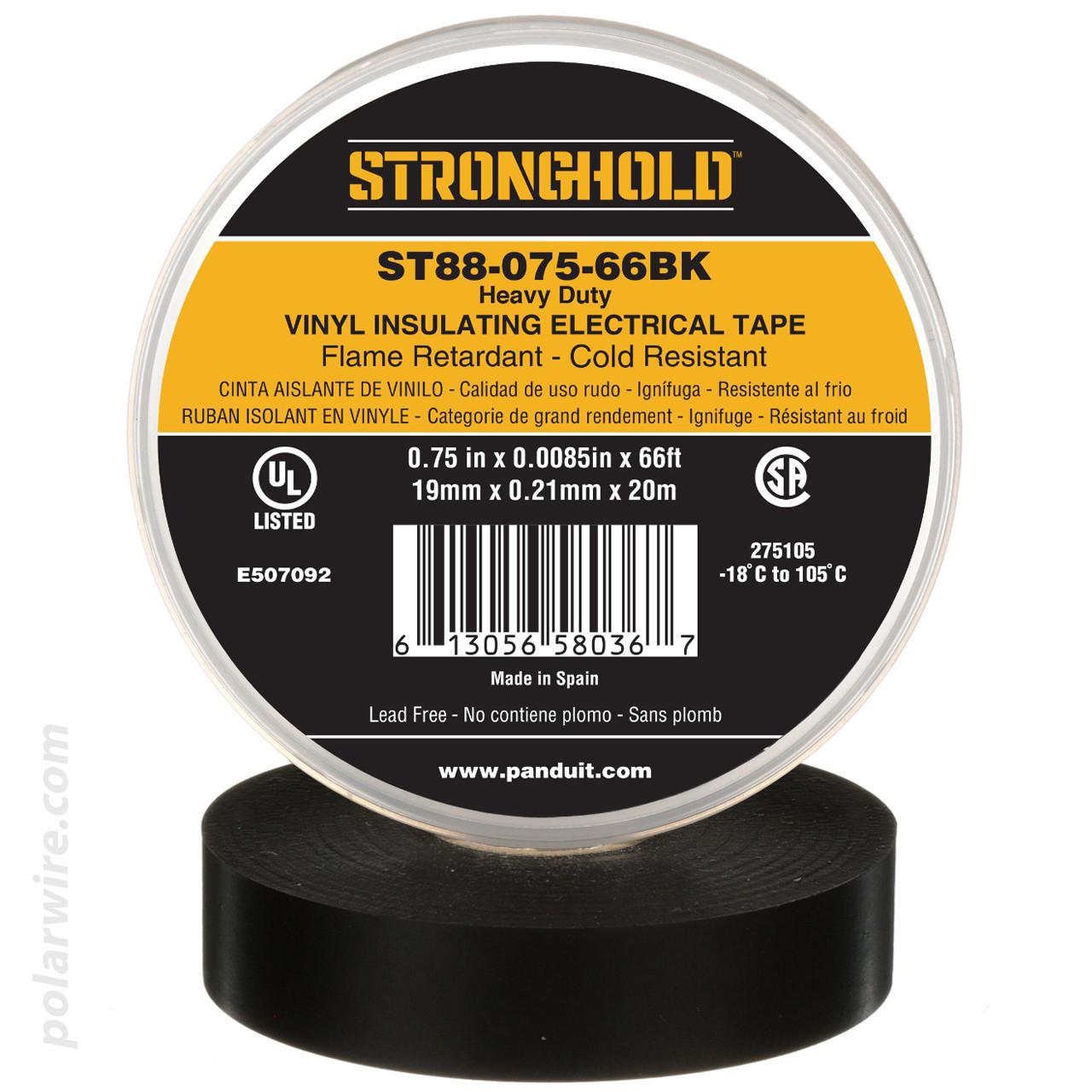 3/4 inch Black PVC Vinyl Heavy Duty Electrical Tape Panduit Stronghold