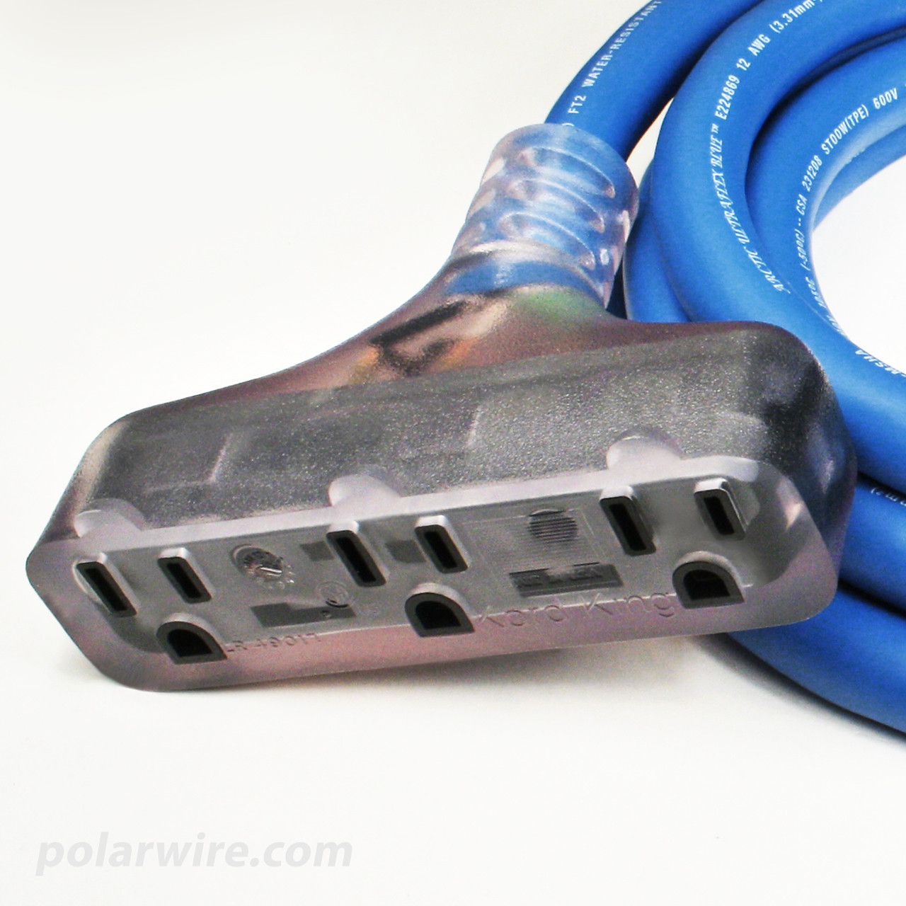 Polar Wire power cords feature clear molded ends with heavy duty strain relief and a tough, highly flexible Arctic Ultraflex Blue jacket