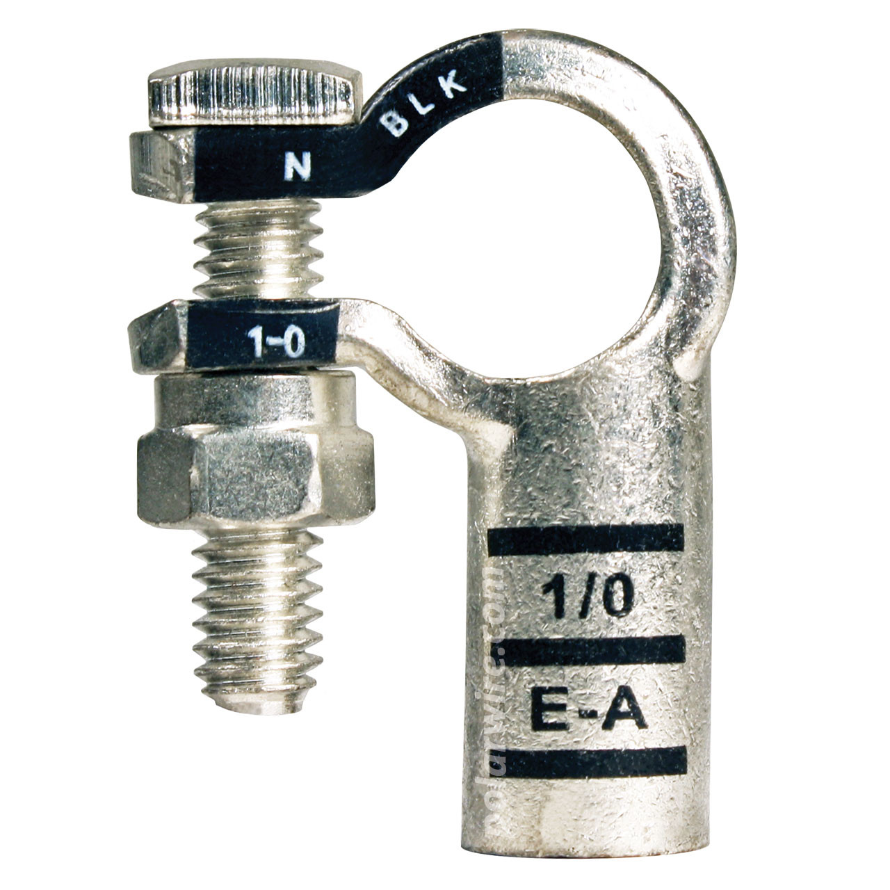 1/0 AWG Eco-Max® 100% Copper Negative Left Elbow Top Mount Plated Solderless Battery Terminal