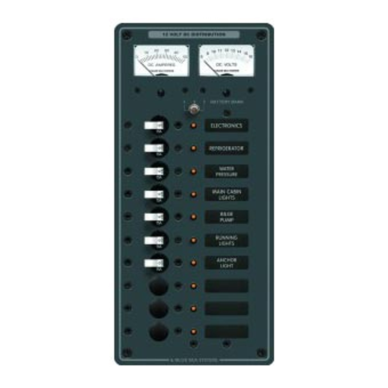 PANEL DC 10 POS V/AMMETER VERTICAL WHITE