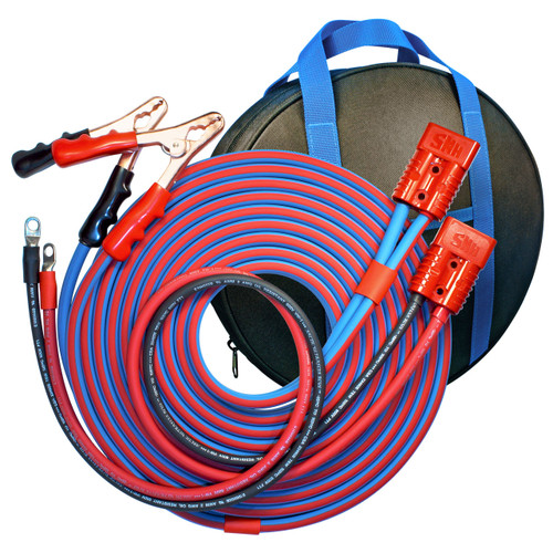 25' Cold Weather Heavy Duty Jumper Cable Clamp to Harness 2 Gauge Booster System