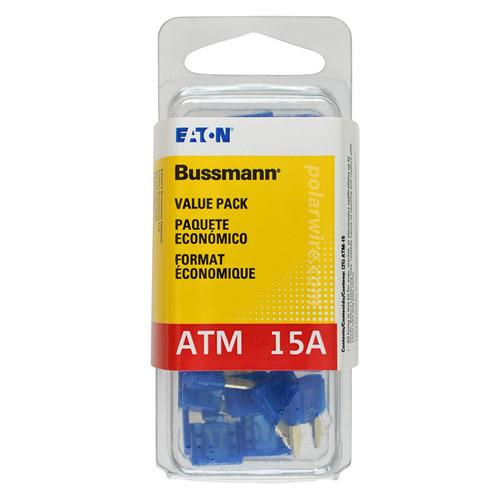 ATM mini blade 15 amp fuse blue Bussmann 25 piece value pack