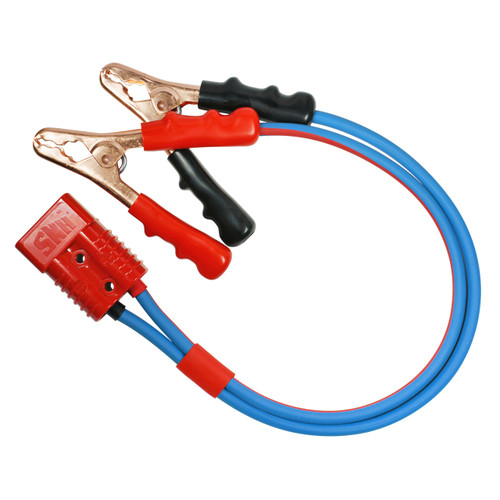 2 foot Jumper Cable Clamp Adapter 2 gauge dual-conductor Arctic Superflex blue wire with quick disconnect plug in to Booster Cable Clamps