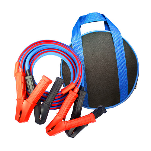 Quality ATV UTV Jumper Cables 8 Gauge, 8 foot clamp to clamp with storage bag