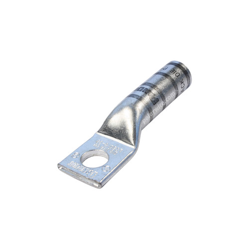 2/0 gauge code long barrel heavy duty compression lug, 3/8 inch stud, high strength, highly conductive electrolytic tin plated copper