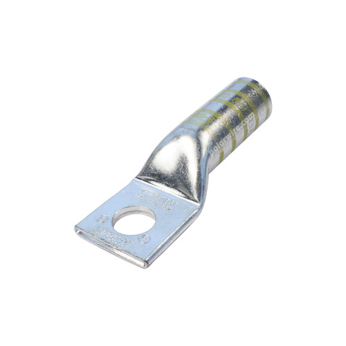 250 MCM code long barrel heavy duty compression lug, 1/2 inch stud, high strength, highly conductive electrolytic tin plated copper
