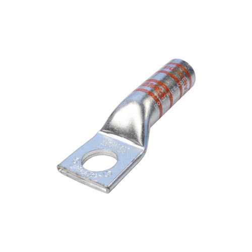 3/0 gauge code long barrel heavy duty compression lug, 1/2 inch stud, high strength, highly conductive electrolytic tin plated copper